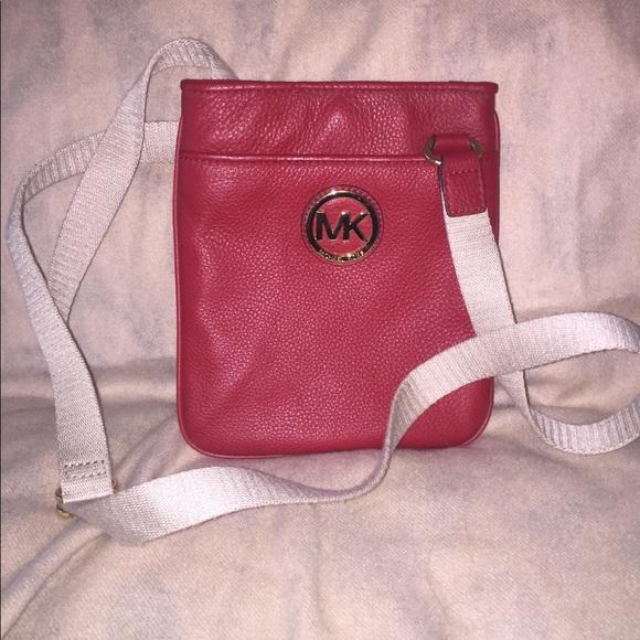 96655d38273fbc Michael Kors Bags | Genuine Red Leather Crossbody Bag | Poshmark